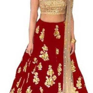 Embroidered Lehenga, Choli and Dupatta Set